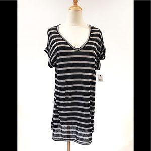 Tahari Striped V-Neck Knit Top Clara NWT Medium